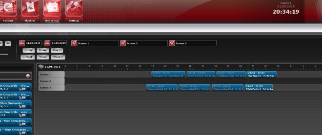Today's timeline on the Theatre Management System.